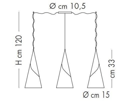 ALBACHIARA SP 1016/3x15 brown Oprawa Wisząca Lampade Italiane