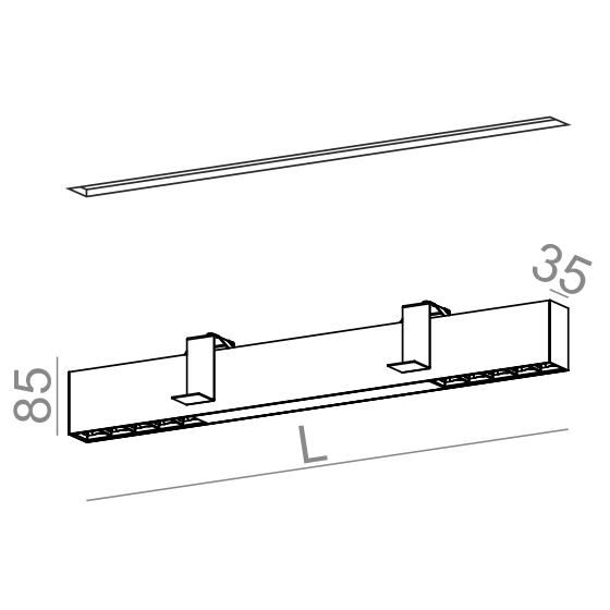 AQForm Rafter section 133 cm biały Oprawa do zabudowy LED