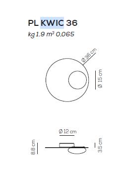 Axo Light Kwic 36 cm Plafon w kolore brązowym