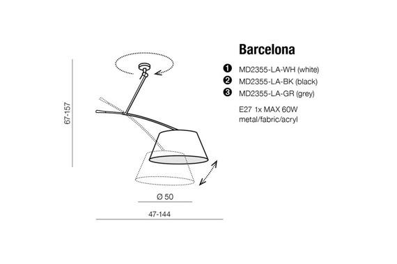 Barcelona MD2355-LA WH Azzardo Lampa wisząca