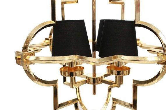Berella Light Torla 4 Żyrandol złoty/czarne abażury styl glamour