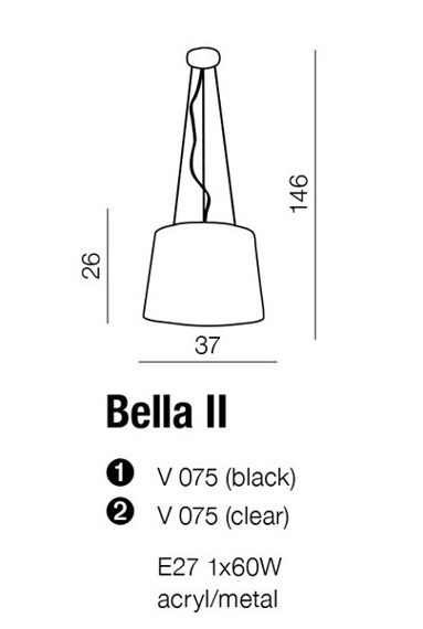Lampa AZZARDO Bella II V 075 Black
