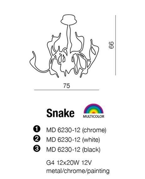 Lampa AZZARDO Snake MD 6230-12 Chrome AZ0044