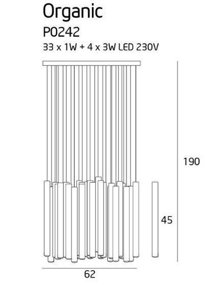 Organic P0242D Lampa wisząca MaxLight ze ściemniaczem