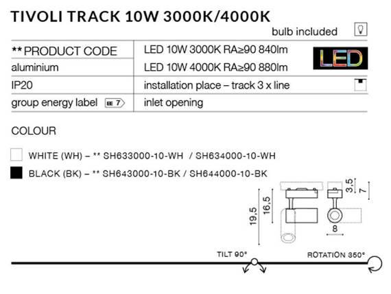 Tivoli Track SH634000-10-WH Azzardo Reflektorek do szynoprzewodu