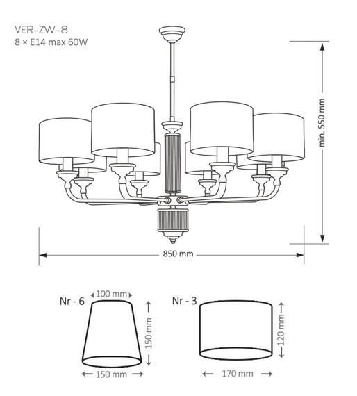 VER-ZW-8(N) Kutek Mood Verde Żyrandol